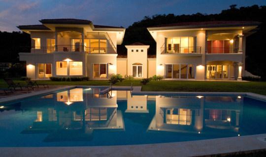 Casa Veranda exterior front pool night